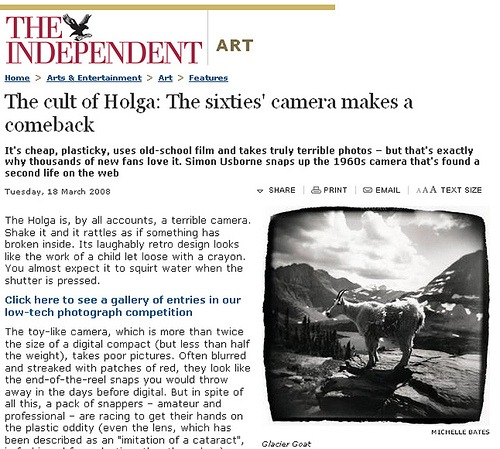 "THE INDEPENDENT ""The Cult of the Holga"""